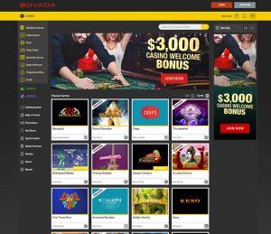 Bovada Casino layout
