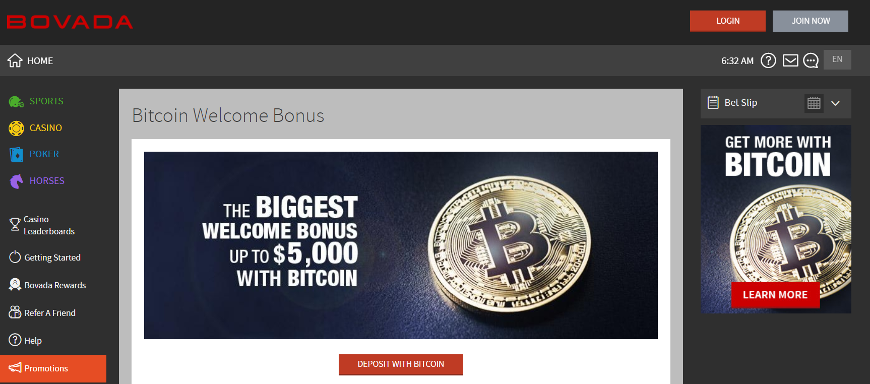 Bitcoin Casino Welcome Bonus at Bovada