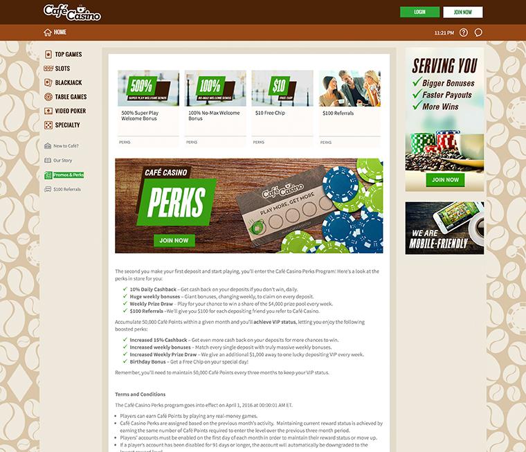 Café Casino Promos Perks